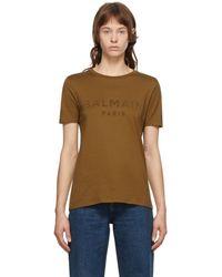 Balmain ブラウン フロック ロゴ T シャツ