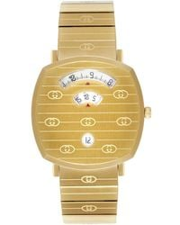 Gucci Gold Tone Grip Logo-engraved 35mm Watch - Metallic