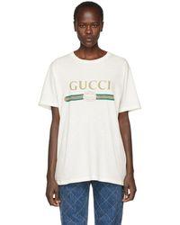 Gucci - オフホワイト ロゴ T シャツ - Lyst