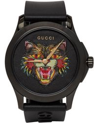 Gucci - Angry Cat Rubber Strap Watch - Lyst