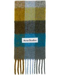 Acne Studios - グリーン And ブルー チェック ラージ マフラー - Lyst