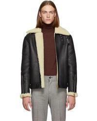 Paul Smith - Black Shearling Flight Jacket - Lyst