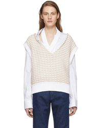 Raf Simons - White Cropped Knit Vest - Lyst