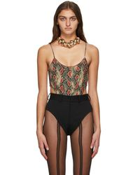 Y. Project Red And Grey Snake High Cut Bodysuit