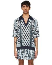 Dolce & Gabbana ブルー シルク Majolica-print ポロシャツ