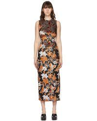 Eckhaus Latta Orange & Black Burnout Velvet Shrunk Dress