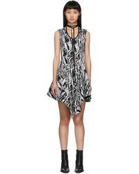 Mugler ブラック & ホワイト タペストリー A ライン ドレス