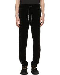 Versace Jeans Couture ブラック ベロア ロゴ トラック パンツ