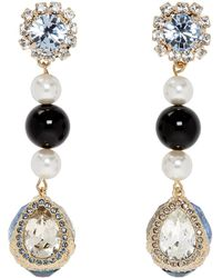 Erdem - Blue And Gold Tear Drop Earrings - Lyst