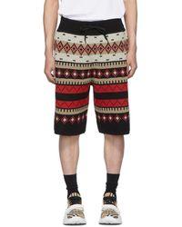 Burberry Fair Isle Knitted Shorts - Black