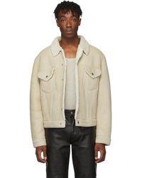 Helmut Lang Off-white Shearling Masc Trucker Jacket - Natural