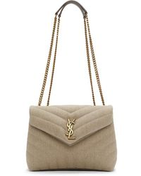 Saint Laurent Beige Quilted Small Loulou Bag - Natural