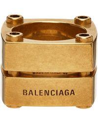 Balenciaga ゴールド Gear Plate リング - メタリック