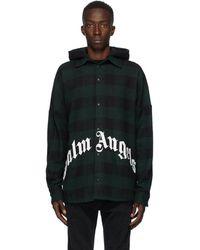 Palm Angels グリーン And ブラック フード オーバーシャツ