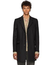 Ann Demeulemeester - Black Wool Coat - Lyst