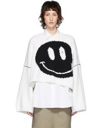 Raf Simons Smiley-intarsia Cropped Wool Jumper - Black