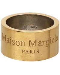Maison Margiela - ゴールド ワイド ロゴ リング - Lyst