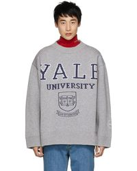 CALVIN KLEIN 205W39NYC グレー Yale クルーネック セーター