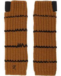 Raf Simons Brown Long Sriped Fingerless Gloves