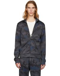 Valentino - Navy Camo Zip-up Sweater - Lyst