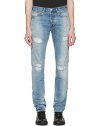 PS by Paul Smith - Blue Ripped Slim Jeans - Lyst