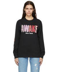 AWAKE NY ブラック Bloom ロゴ ロング スリーブ T シャツ