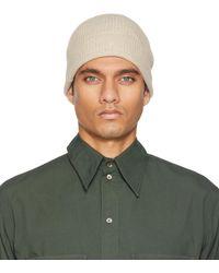 Lemaire Bonnet blanc cassé tricoté en laine - Vert