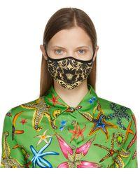 Versace ブラック Barocco フェイス マスク - グリーン