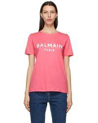 Balmain - ピンク And ホワイト ロゴ T シャツ - Lyst
