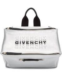Givenchy Silver Pandora Messenger Bag - Metallic