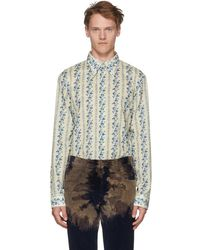 Gucci - Off-white And Blue Floral Logo Shirt - Lyst