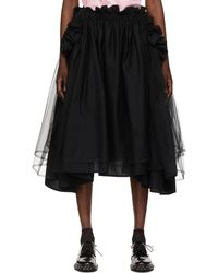Noir Kei Ninomiya Jupe noire en tulle