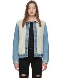 Levi's オフホワイト And ブルー シェルパ トラッカー ジャケット