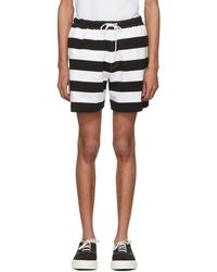 Noah - Black And White Rugby Shorts - Lyst