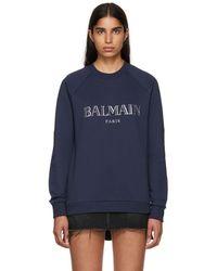 Balmain - Navy Logo Sweatshirt - Lyst