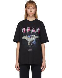 MSGM ブラック Space Unicorn Tour T シャツ