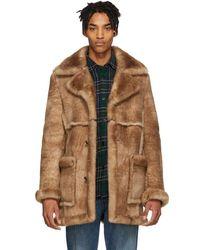 Schott Nyc Brown Shearling Rancher Coat