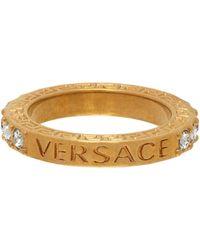 Versace - Bague dorée Crystal Greca - Lyst