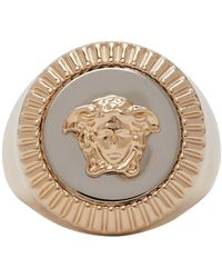 Versace Gold And Silver Guilloche Medusa Signet Ring - Metallic