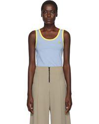 Kwaidan Editions Blue Wool Embroidered Tank Top