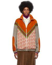 Gucci Multi-fabric Zip-up Jacket - Orange