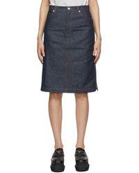 A.P.C. Indigo & Navy Sacai Edition Denim Mai Skirt - Blue