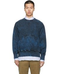 Nicholas Daley Pull molletonné marine en coton teint en plongée - Bleu