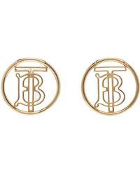 Burberry ゴールド モノグラム ピアス - メタリック