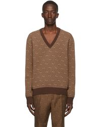 Gucci ブラウン ウール ジャカード GG ストライプ V ネック セーター