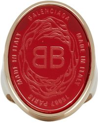 Balenciaga - Red And Gold Oval Chevaliere Ring - Lyst