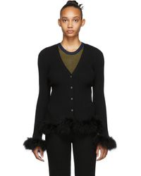 Opening Ceremony Cardigan a plumes dautruche noir