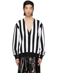 we11done Black & White Intarsia Striped Cardigan