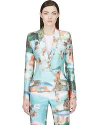 Hussein Chalayan - Green Pixelated Ribbed Blazer - Lyst
