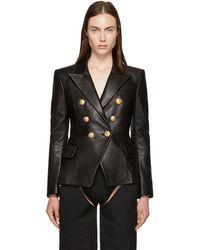 Balmain - Black Six-button Leather Blazer - Lyst